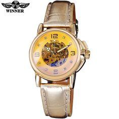 WINNER brand women watches skeleton mechanical watch white leather band ladies simple fashion casual clock relogio femininos
