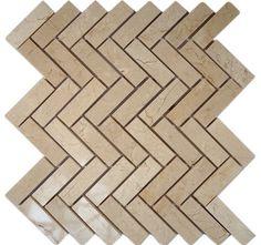 Crema Marfil Herringbone Marble Mosaic Tiles - contemporary - bathroom tile - Glass Tile Store