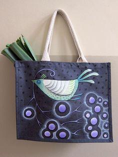 Sandrine la Sardine, alias Sandrine Herlin ! Painted Bags, Fibre And Fabric, Diy Tote Bag, Boho Bags, Jute Bags, Patchwork Bags, Fabric Bags, Cotton Bag, Fabric Painting