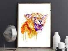 #AngryLioness #WatercolorAnimals #BigCats #Etsy #Wildlife #InstantDownload Watercolor Paintings Of Animals, Watercolor Portraits, Insects For Sale, Animal Posters, Orange And Purple, Cat Gifts, Big Cats, Printing Services, Custom Framing