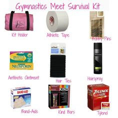 Gymnastics Meet Survival Kit---guess I better learn this now for Raevy