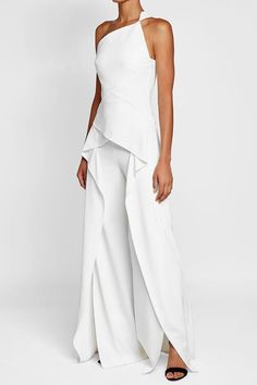 Ralph Lauren Collection One-Shoulder Silk Crepe Jumpsuit, Ivory Mode Kimono, Silk Crepe, Silk Satin, White Outfits, Mode Outfits, Beautiful Outfits, Evening Dresses, Fashion Dresses, Womens Fashion