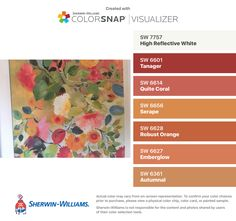 I found these colors with ColorSnap® Visualizer for iPhone by Sherwin-Williams: High Reflective White (SW 7757), Tanager (SW 6601), Quite Coral (SW 6614), Serape (SW 6656), Robust Orange (SW 6628), Emberglow (SW 6627), Autumnal (SW 6361).