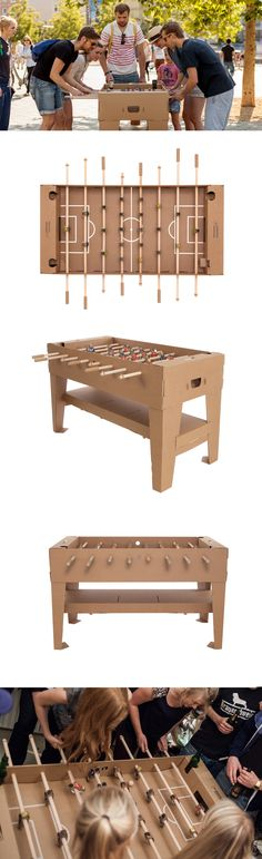 Soccer table in cardboard | futbolín de mesa de cartón | Avalilable at http://cartonlab.com/producto/futbolin-de-carton/ designed by Kickpack