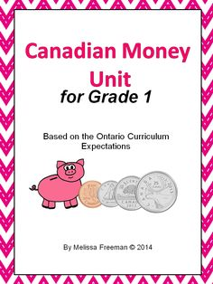 This Canadian Money Unit for Grade 1 contains lesson ideas based on the expectations, 6 colour coin posters, word wall words, a student coin booklet, worksheets, a test, printable coins for a classroom store activity, and a word search.