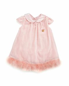 Velvet Dress with Marabou Hem, Pink, 12-24 Months  by Miss Blumarine at Neiman Marcus.