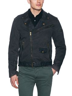 Distressed Leather Combo Jacket by J.A.C.H.S. at Gilt
