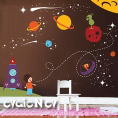 Children Wall Decal -  Nursery Outer Space Theme with Stars, Spaceship and Astronaut-