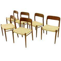Set of Six Niels O. Møller Teak Dining Room Chairs Model 75, Denmark, 1960`s 1