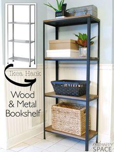 Wood and Metal IKEA Hack Industrial Shelf | Remodelaholic | Bloglovin'