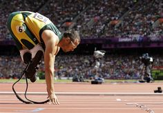 Oscar Pistorius In London - Track & Field Slideshows | South Africa's Oscar Pistorius starts in a men's 400-meter heat during the athletics in the Olympic Stadium at the 2012 Summer Olympics.  (Photo: Anja Niedringhaus / Associated Press) #NBCOlympics