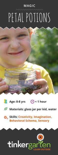 For petal potions, kids put water and anything from nature into a jar and mix it…