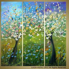 BEAUTIFUL SPRING DAY Original Modern Abstract Fantasy Trees