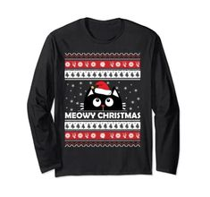 Meowy Cat Ugly Christmas Sweater Long Sleeve T-Shirt Meowy Cat Ugly Christmas Sweater
