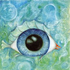 Surreal Eyeball Fish Big Eye Art Print Lowbrow Art by wibbleyworld, $7.00