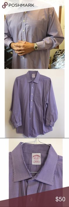 Brooks Brothers purple dress shirt Size 17.5 neck, 33 sleeve. Just dry cleaned. Purple and white box design. Brooks Brothers Shirts Dress Shirts