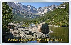 $3.29 - Acrylic Fridge Magnet: United States. Colorado. Rocky Mountain National Park. Mills Lake