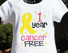 Childhood Cancer Survivor Anniversary Milestone Embroidered Applique Shirt with Ribbon- 1 Year Cancer Free, Update for any amount of years