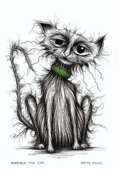 Horrible the cat Naughty scruffy kitty Original hand drawn ink cartoon picture