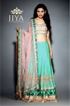 pastel green lehenga, gold zari embroidery, white and gold blouse, pastel pink net dupatta, green and gold border