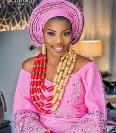 Beautiful bride in pink ~DKK ~ Latest African fashion, Ankara, kitenge, African women dresses, African prints, African men's fashion, Nigerian style, Ghanaian fashion. Join us at: https://www.facebook.com/LatestAfricanFashion