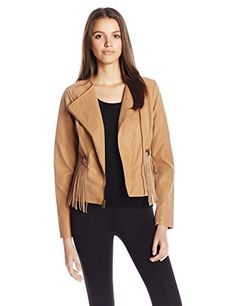 Jessica Simpson Women's Asymmetrical Zip Fringe Faux Suede Moto Jacket, Tan, X-Small >>> Click image for more details.