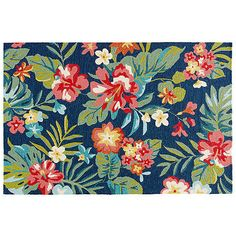 Lucas Outdoor Rug Blue/Pink Area Rugs (10,530 EGP) ❤ liked on Polyvore featuring home, rugs, blue floral rug, blue floral area rug, pink rug, olefin area rugs and patio area rugs