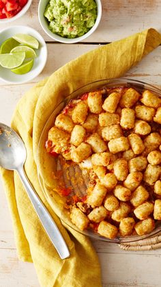 Love Tater Tot casserole? Try this Tex-Mex twist, made with seasoned ground beef, diced red bell pepper, Mexican cheese and deliciously crispy Tater Tots. Go crazy with the toppings! From sliced ripe olives to pickled jalapeños, feel free to add as much as you like to make it your own.