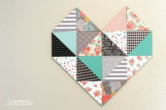 Geometric Heart with Patterned Paper by #JenHadfield and @PebblesInc. #diy #homedecor