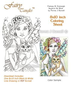 Ginger & Alec - Fairy-Tangles™ 8x10 inch coloring sheet by Norma J Burnell