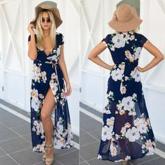New Fashion! Women's sexy crossover asymmetric hem maxi dress featuring a high split with floral designs. Perfect for the beach! Fabric Type: Chiffon Main Color