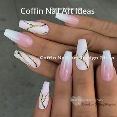 White And Pink Ombre Nails With A Marble Stone Design Discover trendy and cute white coffin nails designs with accent, glitter, rhinestones. Find an idea for your long, short nails. The post 33 Fancy White Coffin Nails Designs appeared first on Aktuelle. Black Ombre Nails, White Coffin Nails, Stiletto Nails, White Nails, Pink Nails, Glitter Nails, Gel Nails, Fancy Nails, Acrylic Nails Coffin Ombre