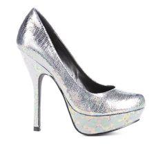 silver iridescent pumps