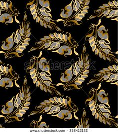 gold Art Nouveau style vector pattern illustration