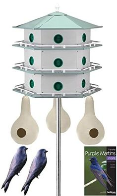 Heath 18-Room Deluxe Purple Martin House & Gourds Kit. This comprehensive package allows a martin colony to thrive in your backyard. Contains 18-Room Deluxe Martin House, Martin House Pole, Gourds, Decoys and a Book. Provides your martins options for roosting, with both traditional and gourd housing. Included decoys help attract martins, and the book offers other tips.