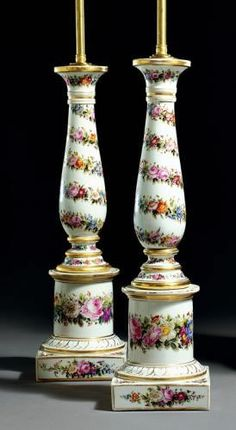 Pair of Paris Porcelain Lamps