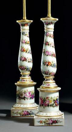 Pair of Paris Porcelain Lamps