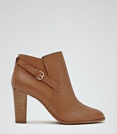 Womens Tan Side Buckle Ankle Boots - Reiss Carter