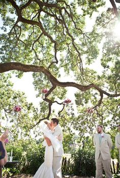 I will be married under some large beautiful tree where a small number of people will be witness to my extreme happiness.