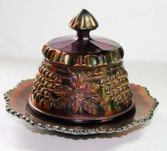 Antique Carnival Glass Butter Dish Northwood by Antiqueish on Etsy, $165.00