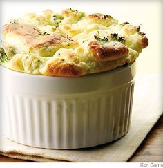 Broccoli & Goat Cheese Soufflé  /  WebMD Recipe from EatingWell.com  This elegant broccoli and goat cheese soufflé will wow your family and friends. Soufflés are surprisingly easy to make—the only trick is getting them on the table before they deflate. Serve with: A tomato-and-fennel salad and, for dessert, fresh strawberries drizzled with balsamic vinegar.