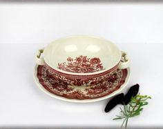 "Vintage VILLEROY & BOCH handled Soup Bowl with matching Saucer model ""Fasan"". Red transferware. Rustic. Germany"