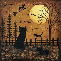 Halloween Decoration Folk Art Painting Wooden Square Plate