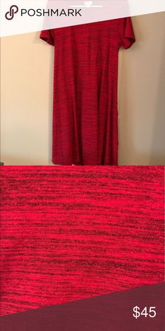 M Carly LulaRoe - Like New Condition Red and black heathered M Carly LulaRoe! Only worn twice - like new condition! Didn't fit me well :( Smoke-free home LuLaRoe Dresses