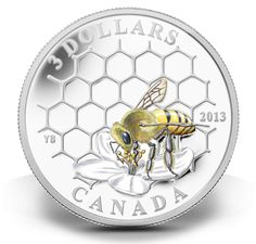 2013 3 Fine Silver Coin Bee and Hive Canadian Coins, Mint Coins, Gold And Silver Coins, Beautiful Bugs, World Coins, Save The Bees, Bees Knees, Rare Coins, Bee Keeping