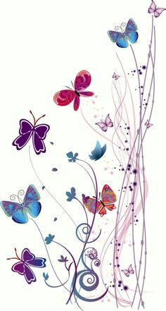 Swirly branches and colorful butterflies. Butterfly Wallpaper, Butterfly Art, Wallpaper Backgrounds, Iphone Wallpaper, Butterfly Painting, Beautiful Butterflies, Cute Wallpapers, Illustration, Decoupage