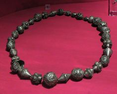 Silver necklace from the Gullunge silver hoard, in the Stockholm museum.