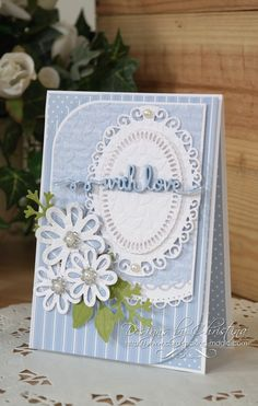More info and ideas can be found at http://www.card-making-magic.com and also http://flowersribbonsandpearls.blogspot.co.uk A lovely easy card to make and su...