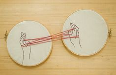 Cat's cradle embroidery.