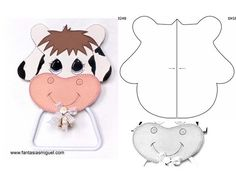 Molde de vaca - Imagui Felt Doll Patterns, Sewing Patterns, Dyi Crafts, Felt Crafts, Animated Cow, Cow Pattern, Country Paintings, Felt Decorations, Birthday Crafts